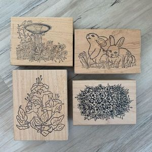 Office - Rubber Stamps Floral/Bunny/Spring Themed Set of 4